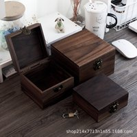Wholesale wooden boxes for sale - Group buy Black walnut wood Square Walnut square case small box storage storage wooden wooden box with lock HiLM
