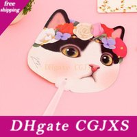 Wholesale cute hand fan resale online - Cute Cat Plastic Hand Fan Cartoon Animal Kitten Summer Accessories For Girl Kids Birthday Party Flavors And Gifts Za2847