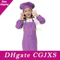 Wholesale kids chef hat for sale - Group buy Christmas Gifts Children Kitchen Waists Colors Kids Aprons With Sleeve Chef Hats For Painting Cooking Baking