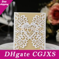 Wholesale graduation invites for sale - Group buy Delicate Laser Cut Wedding Invitation Card With Envelope European Style Hollow Out Cover Personalized Birthday Graduation Party Invites Card