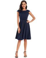 Wholesale ball spots resale online - Women s bow dress cross border hot spot in stock spring and summer new waist slimming short sleeves