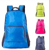 Wholesale nylon folding backpacks resale online - Solid Foldable Backpack Ultra Light Shoulder Bag Folding Travel Hiking Camping Rucksack Folded Totes Portable Sport Gym Storage Bag E81902