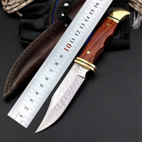 Wholesale buck knifes for sale - Group buy Buck Damascus Knife wooden handle straight knife outdoor camping fishing survival knife EDC tool exquisite tool