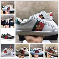 Wholesale Mens Casual Runnings Women Shoes Sneakers Top Quality Green Red Stripe Italy Bee Tiger Snake Loved Embroidered Trainers With Box