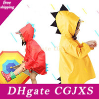 Wholesale raincoat boys for sale - Group buy Cute Dinosaur Shaped Hooded Children Yellow Red Raincoats Portable Boys Girls Windproof Waterproof Wearable Poncho Kids Bh0752 Tqq