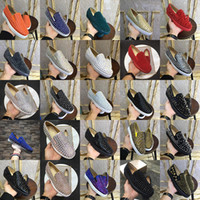 Wholesale prom men white shoes resale online - Top Quality Designer Handmade Men Women Rivets Platform Shoes Fashion Party Prom Men Loafers Red bottom Plate forme leather casual shoe