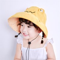 Wholesale baby clothes frogs resale online - dy6F7 Children s fisherman s summer empty brim sun fisherman male large top sun cartoon trendy baby bucket bucket hat Frog clothing fem kwYe