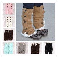 Wholesale kids long boots resale online - Winter Warm Knit Wool Leg Sleeve Knee High Socks Kids Boot Cuffs Foot Warmer Girls Long Lace Stockings Button Lace Booties Sleeves E9103
