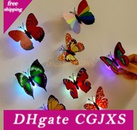 Wholesale static led lights for sale - Group buy 3d Butterfly Stickers With Suction Pad Colorful Changing Butterfly Led Night Light Lamp Home Room Party Desk Wall Decor