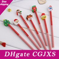 Wholesale wood pencil eraser resale online - Hot Children S Cartoon Pencil With Christmas Santa Claus Eraser Wood Ball Point Pen Children S Toys Xmas Toy cm