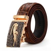 Wholesale alligator belt buckles for sale - Group buy Mens Alligator Embossed Plaque Buckle Cowskin Genuine Leather Ratchet Belt D Crocodile Pattern Jeans Belts For Men