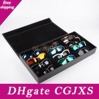 Wholesale grid sunglasses resale online - Pu Leather Glasses Sunglasses Display Box Rack Case Jewelry Storage Organizer Holder With Grids For Gift Za5243