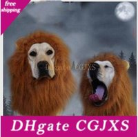 Wholesale lion mane wigs for dogs resale online - Party Pet Toy Halloween Hair Ornaments Pet Costume Cat Halloween Clothes Fancy Dress Up Lion Mane Wig For Large Dogs