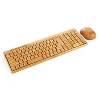 ingrosso ricevitore multimediale wireless-Wireless Multimedia Keyboard bambù 2.4GHz Wireless Keyboard mano di legno del mouse di legno Combos con un ricevitore USB per PC / laptop / notebook