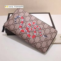Wholesale celebrity rivet resale online - qianqianli4 V Top Quality Celebrity Letter embossing Snake Tiger Head Zipper wallet Canvas Cowhide Leather Long Purse