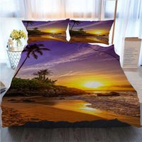 Wholesale 3d bedding set beaches resale online - 3D Designer Bedding Sets A Tropical Beach Sunset On A Beautiful Day Duvet Cover Designer Bed Comforters Sets
