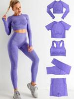 Tracksuits spring summer Gymshark 5Pcs Womens Vital Seamless Yoga Set Workout Sports Wear Gym Clothing Shorts Long Sleeve Crop Top High Waist Leggings align pant