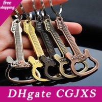 Wholesale gifts guitar resale online - Zinc Alloy Guitar Bottle Opener Key Ring Car Keychain Bag Pendant Creative Gift Wen7015