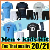 Wholesale purple soccer shorts resale online - 2020 Man Manchester Soccer Jersey City Home Away Third Maillot De Foot KUN AGUERO MAHREZ STERLING Men Kids kit Football Shirt