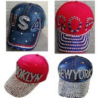Wholesale hats types for sale - Group buy 5 Types Trump Ponytail Ball Cap USA hat Election Campaign Hat Cowboy Diamond Cap Adjustable Snapback Women Denim Diamond Hat EEA1991