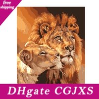 Wholesale lions home decor resale online - Qluo Animal Picture Frameless Painting By Numbers Diy Digital Canvas Oil Painting Two Lions Pattern Home Decor Diy Handwork Gift