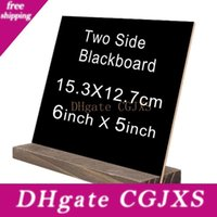 Wholesale wood signs home decor resale online - Mini Double Side Chalkboard Vintage Wood Base Buffet Bar Message Display Signs Novelty Home Decor W9702