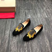 Wholesale claws shoes resale online - 2020new Leather abrasive Elegant Shoes Men Oxfords Dress shoes Black high quality animal claw heavy craft embroidery design Yellow low heel