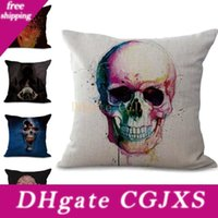 Wholesale custom pillow designs for sale - Group buy Death Skull Pillow Case Cushion Cover New Design Linen Cotton Throw Square Pillow Covers Colors Custom Free x45cm g