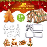 ustensiles de cuisson en acier inoxydable achat en gros de-18 pièces / Set 3D Christmas Cookie Cutters de Noël de cuisson en acier inoxydable Gingerbread Moisissures House Party Bakeware moule BWC981