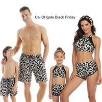 Wholesale couple clothes outfits resale online - New Sexy Leopard Bikini Beach Shorts Family Matching Swimwear Summer Dad Mom Girls Boys Matching Clothes Couple Swimsuit Outfits