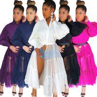 Wholesale coat pant dress girl resale online - Women Long Dress Mesh Black White Patchwork High Street Fashion Cool Girl Long Sleeve Coat Top Plus Size Hot Sale Chic Clubwear