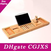 Wholesale reading tablets resale online - Creative Bamboo Bathtub Tray With Extending Sides Reading Rack Tablet Holder Cellphone Tray And Wine Glass Holder Lx1550