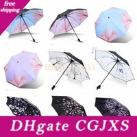 Wholesale vinyl rain for sale - Group buy Sun Shade Umbrellas Maple Leaf Plaid Sunny Rainy Umbrella Three Folding Multicolor Coating Vinyl Sunscreen Umbrella Custom Logo Lxl1063