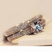 Wholesale topaz band for sale - Group buy Size4 Amazing Victoria Weick sterling silver filled White topaz Ziconia Diamonique Wedding Engagement Bridal Band Ring set GIFT