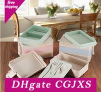 Wholesale rice products for sale - Group buy Ortable Lunch Bento Boxes Leak Proof Rice Husk Material Food Container Storage Box Microwave Heated Dinnerware Set Jxw277