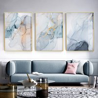 Wholesale floral watercolor paintings for sale - Group buy Modern Hazy Blue Marble Background Abstract Canvas Painting Wall Art Print Poster Picture Living Room Bedroom Home Decoration