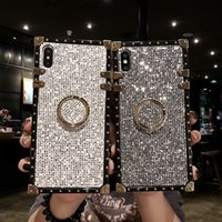 Wholesale celebrity rivet for sale - Group buy Luxury Square Rivet Metal Stand Case for Samsung Galaxy Note10 S9 S10 Plus Starlight Mobile Internet Celebrity High end Phone Cases