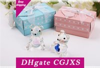 Wholesale crystal christening favors for sale - Group buy Crystal Crafts Christening Gifts Baby Shower Souvenirs Favors Pink Blue Crystal Teddy Bear Favors Figurine W9041