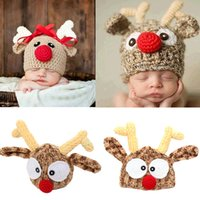 Wholesale hand knitted baby beanie hats resale online - Christmas Baby Hat Adorable Reindeer Hand Crochet Beanie Newborn Boy Girl Knitting Hats Photo Props Knitted Bonnet Xmas Santa