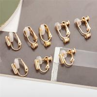 Wholesale diy brass earrings resale online - Clip on earrings Converter Silver Gold open Hoop for diy Studs Pierced earrings women men fashion jewelry will and sandy gift