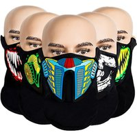 Wholesale skull control for sale - Group buy LED Light Up Face Mask Voice Activated Sound Control Fashion Face mask Skull Gas Mouth Masks Cover Halloween Party Revel Cosplay Toys E81201