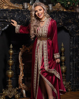 Wholesale evening dresses back detailing resale online - Moroccan Caftan Evening Dresses Beads Hand Work Muslim burgundy gold detail long sleeve Arabic Abaya prom Dress robe de soiree