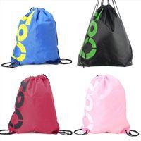 Wholesale beach bag backpack drawstring resale online - School Bags THINKTHENDO Fashion New Men Women Backpack Shopping Drawstring Bags Waterproof Travel Beach Shoes Pack