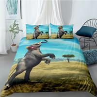 Wholesale beds jump resale online - 3 Pieces Jumping elephant Duvet Cover with Pillow Cases D Bedding for boys Microfiber Quilt Cover with Zipper Twin Full Queen King