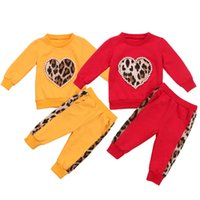 Wholesale babys girls clothes for sale - Group buy Babys Spring Autumn Clothing Long Sleeves Top with Pearl Leopard Heart Printed Long Pants Outfit for Kids Boys Girls