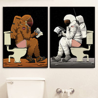 Wholesale funny cartoon posters for sale - Group buy Cartoon Astronaut Funny Toilet Bathroom Wall Art Canvas Painting Nordic Posters And Prints Wall Pictures For Living Room Decor
