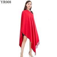 Wholesale red scarf china resale online - Bright Red Scarf China Red Solid Color Imitate Cashmere Tassels Shawl Annual Meeting High Archives Gift Scarf Fashion