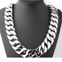 Wholesale silver round link chains resale online - 72cm mm Super Heavy Thick Silver Tone Flat Round Curb Cuban Link Mens Boys Chain L Stainless Steel Necklace Jewelry