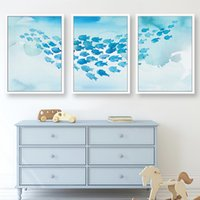 Wholesale fish canvas painting resale online - Abstract Shoal of Fish Blue Color Canvas Painting Kids Room Wall Art Posters and Prints Pictures for Living Room Home Decoration