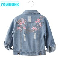 Wholesale cute embroidered baby clothes for sale - Group buy Kids Jackets For Girls Female Baby Embroidered Long Sleeve Denim Coat Clothing Spring Summer Flower Children Jacket Y C1012